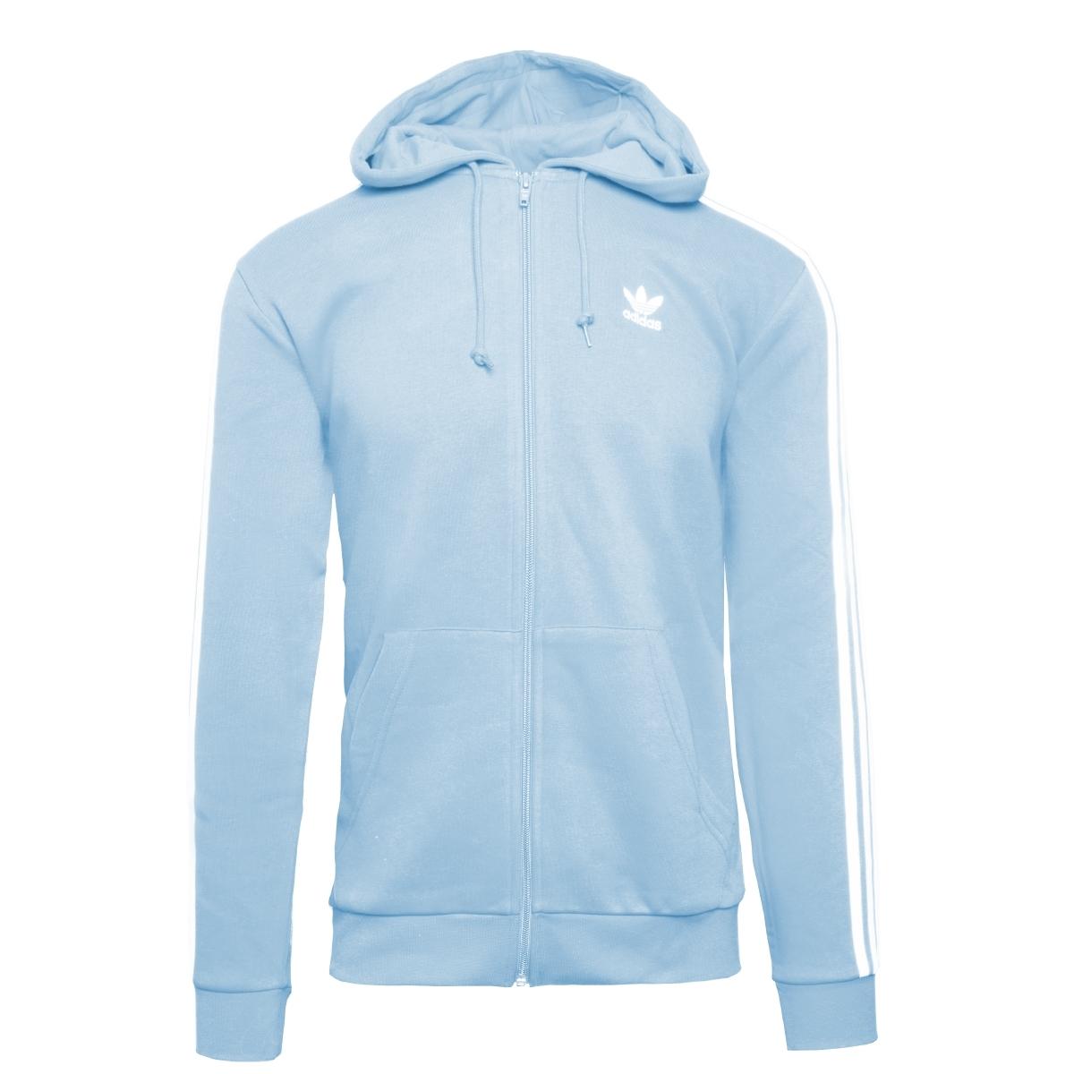 adidas 3 Streifen Fullzip Hoodie Herren blau